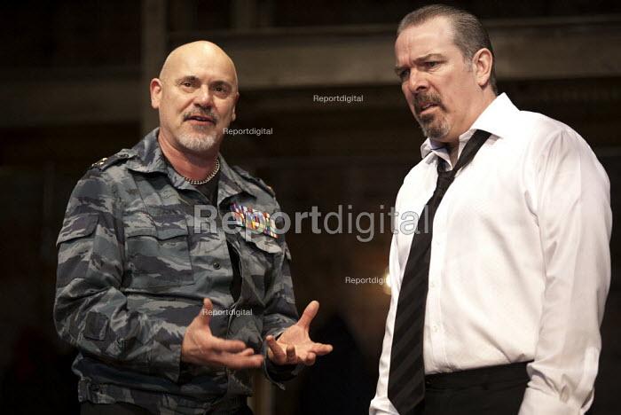 Philip Whitchurch as Varlaam, Lloyd Hutchinson as Boris Godunov. �Boris Godunov by Alexander Pushkin. RSC Swan, Stratford-upon-Avon - John Harris - 2012-11-26
