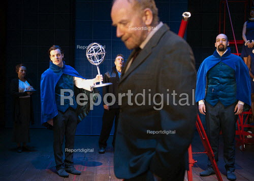 Gethin Anthony as as a Philosopher, Ian McDiarmid as Galileo and Youssef Kerkour as a Philosopher in A Life of Galileo. RSC, Swan, Stratford-upon-Avon - John Harris - 2013-02-07