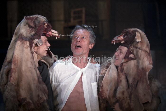 Johnny Weldon as Chiron, Stephen Boxer as Titus, Perry Millward as Demetrius Titus Andronicus, Swan Theatre, Stratford upon Avon - John Harris - 2013-05-22