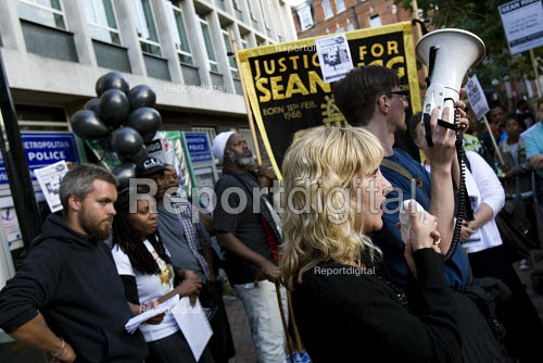 Anna Mazzola, Hickman and Rose solicitor for the family of Sean Rigg gather outside Brixton police station demanding justice for his death in police custody. - Jess Hurd - 2009-08-21