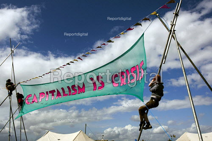 Capitalism is Crisis banner. Climate Camp on Blackheath. South East London. - Jess Hurd - 2009-08-28