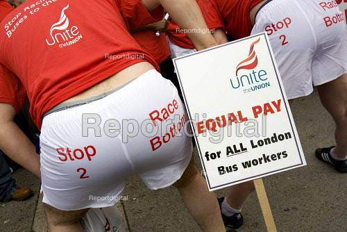 Bus drivers get revealing about pay cuts at London buses. Underwear protest in central London in call for end of the race to the bottom of low pay. Marble Arch, London. - Jess Hurd - 2009-08-05