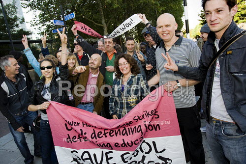 Tower Hamlets College UCU strikers hold a victory rally before marching into college after winning no compulsory redundancies which threatened ESOL class provision. The action started on the first day of enrolment. East London. - Jess Hurd - 2009-09-25