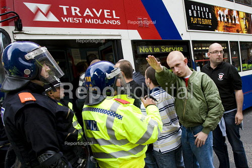 Member of the English Defence League making a Nazi Sieg Heil salute march in Birmingham against Islamic Extremism - Jess Hurd - 2009-09-05