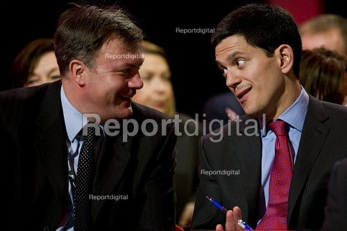 Ed Balls speaks to David Miliband MP. Labour Party Conference 2009. Brighton. - Jess Hurd - 2009-09-28