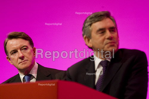 Peter Mandelson MP and Gordon Brown, Prime Minister. Labour Party Conference 2009. Brighton. - Jess Hurd - 2009-09-28