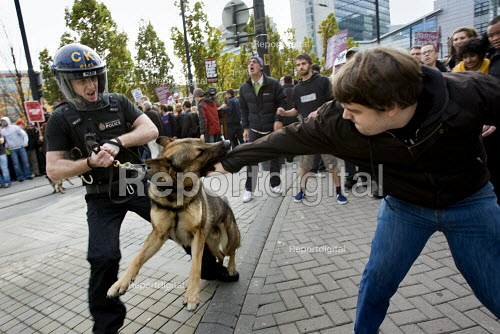 Anti fascists are attacked by police dogs. English Defence League march in Manchester countered by Unite Against Fascism. - Jess Hurd - 2009-10-10