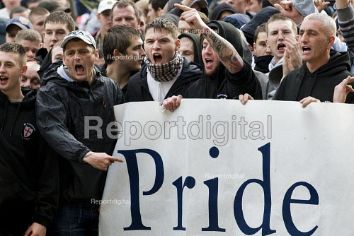 English Defence League march in Leeds with a Pride banner - Jess Hurd - 2009-10-31