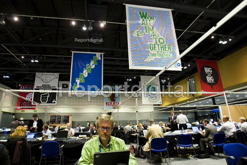 Anti Labour Party propaganda in the Conservative Party Conference press room 2009. Manchester. - Jess Hurd - 2009-10-06