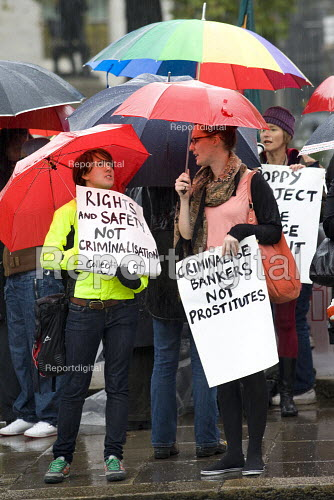 Sex Workers demonstration Against the Policing and Crime Bill and the Welfare Reform Bill. Demanding an end to the criminalisation of prostitution and the right to unionise. Parliament Square, London. - Jess Hurd - 2009-11-03