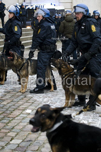Police dog with the blood of a photographer dripping from his mouth. No Borders protest, defending refugees. COP15 United Nations Climate Change Conference, Copenhagen 2009, Denmark. - Jess Hurd - 2009-12-14