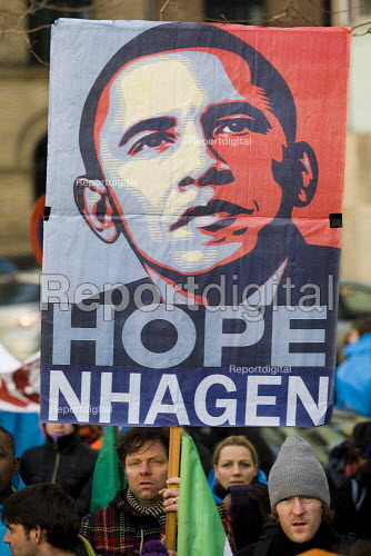 Shepard Fairey iconic Obama Hope poster. Protests against COP15 United Nations Climate Change Conference, Copenhagen 2009, Denmark. - Jess Hurd - 2009-12-12