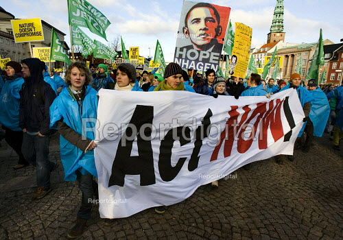 Shepard Fairey iconic Obama Hope poster and Act now banner. Protests against COP15 United Nations Climate Change Conference, Copenhagen 2009, Denmark. - Jess Hurd - 2009-12-12