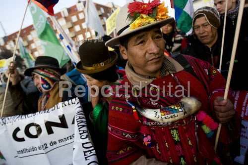 Indigenous people from Bolivia lead the march against COP15 United Nations Climate Change Conference, Copenhagen 2009, Denmark. - Jess Hurd - 2009-12-12
