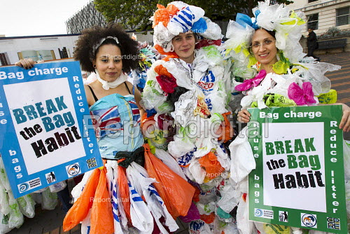 Break The Bag Habit, campaign to reuse plastic carrier bags and recycle plastic. The Campaign to Protect Rural England (CPRE), Keep Britain Tidy, the Marine Conservation Society (MCS) and Surfers Against Sewage (SAS) are calling on government to introduce a levy on single-use carrier bags in England, after levies in Wales and Ireland have proved successful with consumers and have lowered plastic bag waste. Conservative Party Conference 2012, Birmingham. - Jess Hurd - 2012-10-09