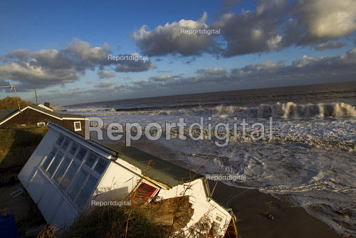 Badly damaged cliff-top homes after Xavier, the largest tidal surge in 60 years battered the east coast of England. - Jess Hurd - 2013-12-06