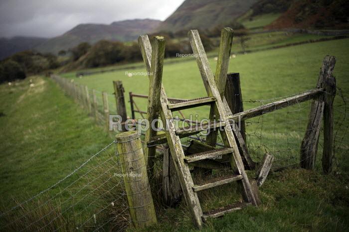 A wooden Ladder stile over a fence on a public footpath nr Bird Rock, Craig yr Aderyn. Tywyn, Dysynni Valley. Snowdonia National Park. Wales. - Jess Hurd - 2014-10-25