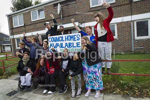 Focus E15 Mothers, formerly housed in a hostel, who have fought eviction and being sent out of London occupy flats on the Carpenters Estate. These Newham properties have been left empty for years due to the gentrification of the area around the Stratford Olympic site. - Jess Hurd - 2014-10-06
