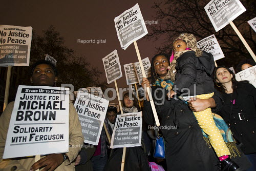 Solidarity with Ferguson - Justice for Michael Brown. Protest began at the US Embassy and ended at Scotland Yard. London. - Jess Hurd - 2014-11-26