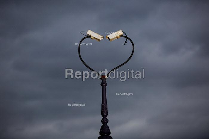 CCTV cameras twisted to form a heart shape. East London. - Jess Hurd - 2014-11-11