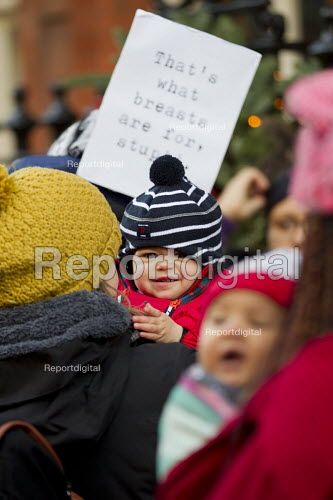 Breastfeeding mothers gather outside Claridges Hotel in protest against the discrimination a mother faced whilst feeding her baby. London. - Jess Hurd - 2014-12-06
