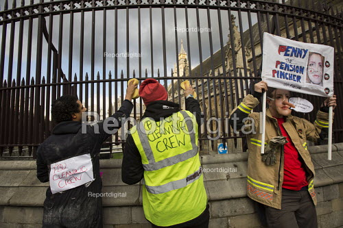 FBU Cleaning Crew spruce up Parliament. Striking firefighters rally and protest outside parliament in a long-running pensions dispute. Westminster. London. - Jess Hurd - 2015-02-25