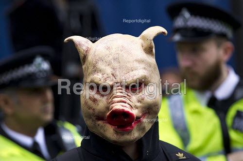 Pigs head mask. Supporters of Britain First and EDL gather to oppose Anjem Choudary, whose group hands out leaflets urging Muslims not to vote. Central London mosque. Regents Park. London. - Jess Hurd - 2015-04-03