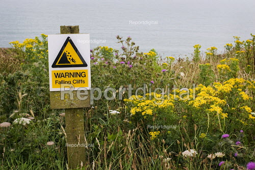 Sign warning of falling rocks from the cliff, Hampshire. - Paul Carter - 2007-07-15
