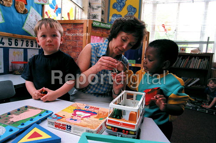 Teacher and pupils Nursery school. - Roy Peters - 1998-06-05