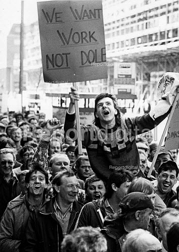 Work not dole 1986 As British shipbuilders announce closure of Smiths Dock, Teesside the workforce protest, Smiths Dock, Middlesbrough - John Sturrock - 1986-05-16