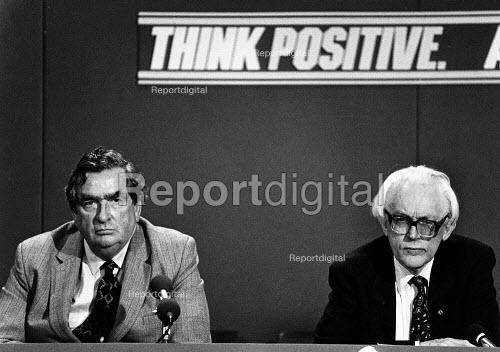 Dennis Healey and Michael Foot at the first Labour Campaign Press Conference of the general election. - John Sturrock - 1983-05-16