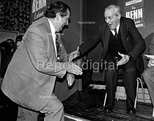 Tony Benn greets Dennis Healey, at Chesterfield by-election. - John Sturrock - 1984-02-27