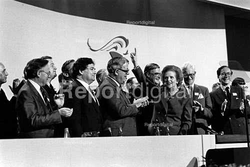 Cabinet applauding Margaret Thatcher, Conservative party conference, 1989 - John Sturrock - 1989-10-12