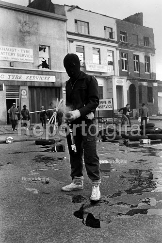 Rioter with fire extinguisher, Upper Parliament Street,Toxteth Riots, Liverpool - John Sturrock - 1981-07-05