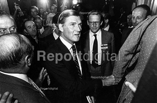 Cecil Parkinson about to walk onto the conference platform. Along with Tom King (R) at the Conservative Conference, Blackpool. After the public revelation of Sara Keays pregnancy and of their twelve-year long affair. Parkinson was forced to resign the next day. - John Sturrock - 1983-10-13