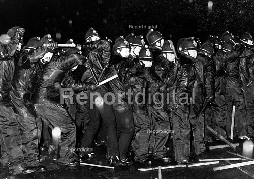 Police bombarded with stones during miners' strike 1984. - John Sturrock - 1984-09-10