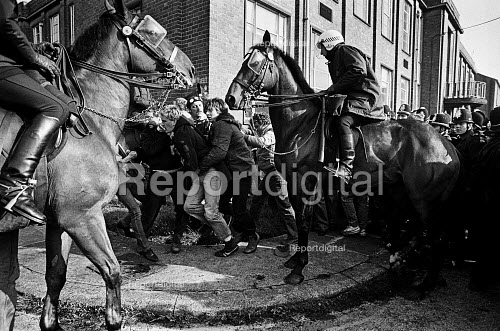 Miners strike, Orgreave picket being attacked by mounted officers. - John Sturrock - 1984-05-29