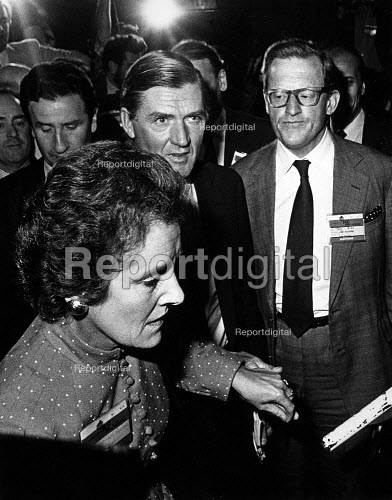 Cecil Parkinson about to walk onto the conference platform. Along with Tom King (on the right) at the Conservative Conference, Blackpool. After the public revelation of Sara Keays pregnancy and of their twelve-year long affair. Parkinson was forced to resign the next day. - John Sturrock - 1983-10-13