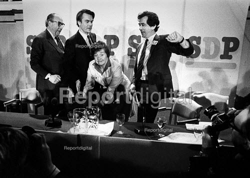 Roy Jenkins, David Owen, Bill Rogers and Shirley Williams, SDP Launch, Limehouse, London 1981. The Gang of Four leaving the Labour Party and forming a Council for Social Democracy, as they said the party had been taken over by the left wing. This Council became the Social Democratic Party (SDP) - John Sturrock - 1981-01-25