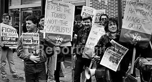 Labour Party Inquiry into Liverpool District Labour Party, Militant Tendency picket outside the AUEW Halls on the first day of the inquiry - John Sturrock - 1985-12-08