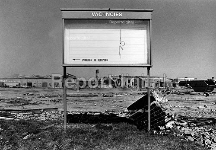Job Vacancies sign, demolished Slough trading estate during the recession, 1983 - John Sturrock - 1983-03-09