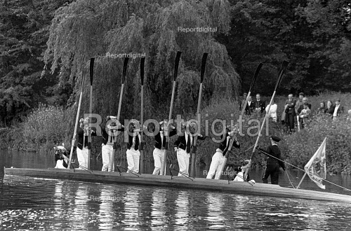 A rowing ceremony on the Thames, as part of the Fourth of June Celebrations at Eton College - John Sturrock - 1990-06-04
