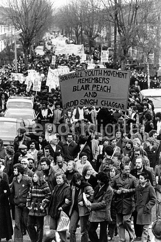 Memorial march for Blair Peach and Singh Chaggar, Southall, London. Southall Youth Movement banner - John Sturrock - 1979-07-28