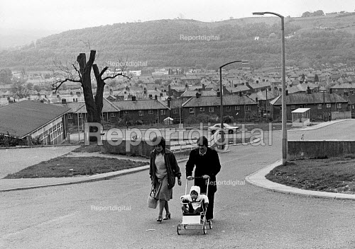A family walking home, after a unsuccessful visit to the 'Job Shop' in Pontypridd, during the recession. - John Sturrock - 1979-05-01