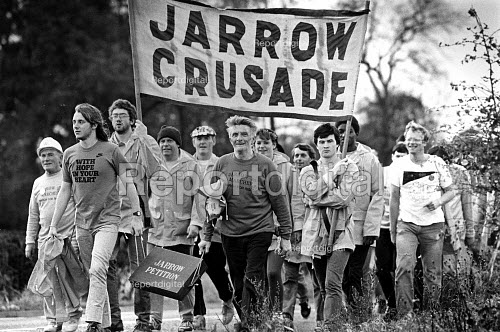 Jarrow Crusade, a protest march against unemployment, that travelled from the Northern town of Jarrow to London, on route as they approached Bedford. - John Sturrock - 1986-10-29