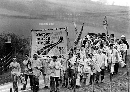 The Peoples March for Jobs, marching south from Glasgow, Scotland 1983 - John Sturrock - 1983-04-20