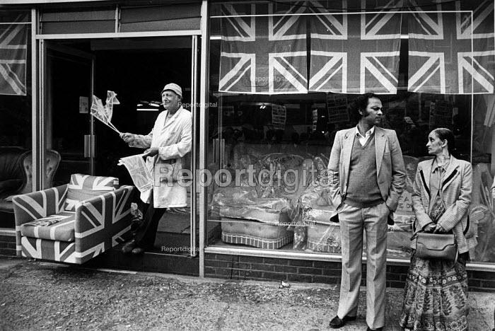 A furniture shop selling Patriotism, in East London. October, 1985. - John Sturrock - 1985-10-10