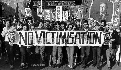 No Victimisation of striking miners at the end of the strike, NUM protest London - John Sturrock - 1985-03-06