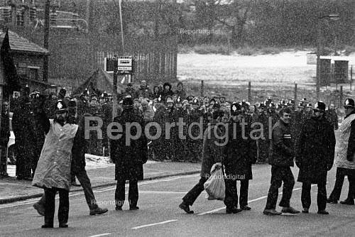 Miners Strike, working miners pass pickets at Silverwood Colliery. - John Sturrock - 1985-01-09