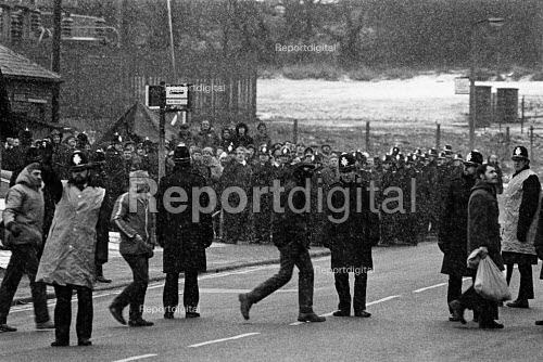 Miners Strike, working miners pass pickets at Silverwood Colliery. - John Sturrock - 1985-01-09